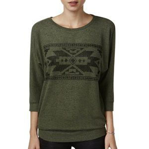 Hippie Rose Olive Dolman Sleeve Soft Graphic Top